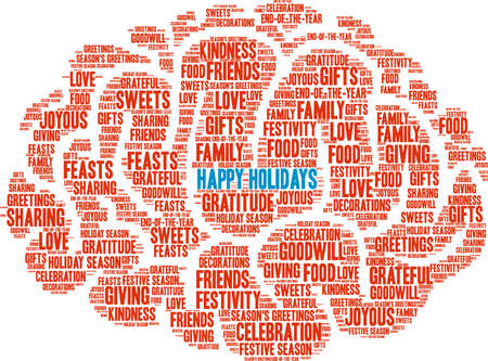 Happy holidays word cloud on a white background. Illustration