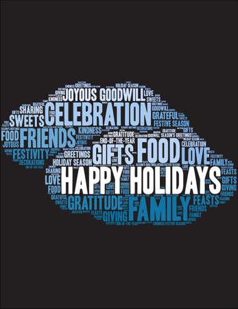 Happy Holidays word cloud on a black illustration. Illustration
