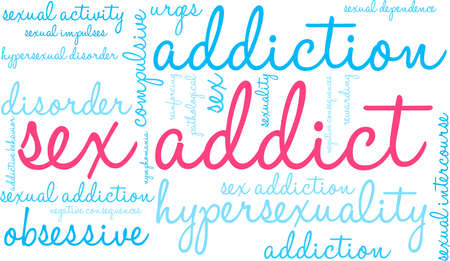 Addict word cloud on a white illustration. Illustration