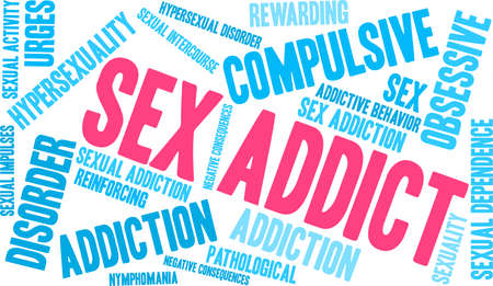 Sex Addict word cloud on a white background. Illusztráció