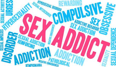 Sex Addict word cloud on a white background. Ilustração