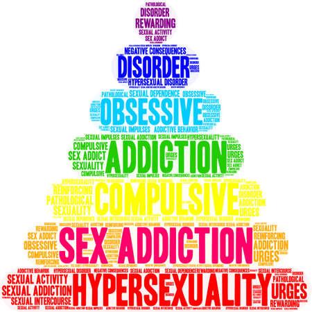 白い背景にセックス中毒の単語クラウド。