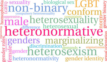 Heteronormative word cloud on a white illustration.