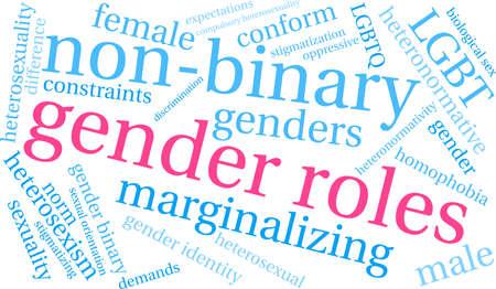 성별 역할 단어 구름 흰색 배경에. 일러스트