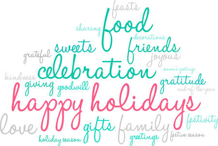 Happy Holidays word cloud on a white illustration.