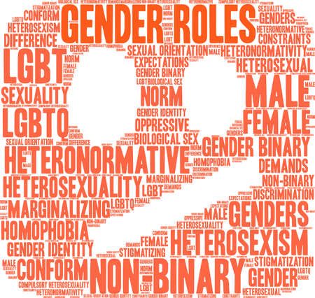 Gender Roles word cloud on a white illustration. Vettoriali