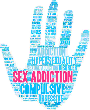 Seksverslaving word cloud op een witte achtergrond.