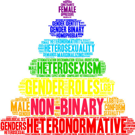 Non-Binary word cloud on a white illustration.
