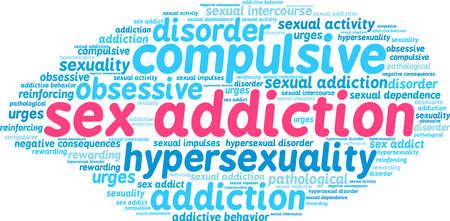 Het woordwolk van de geslachtsverslaving op een witte achtergrond. Stock Illustratie