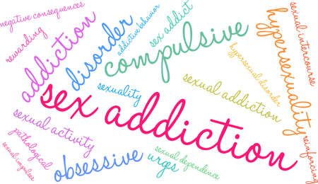 Sex Addiction word cloud on a white background.