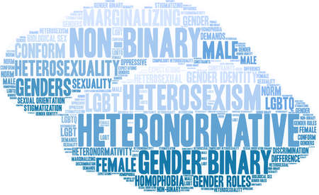 Heteronormative word cloud on a white background.