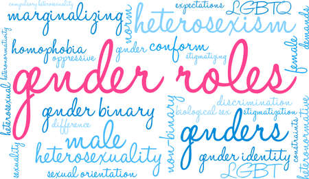 Gender Roles word cloud on a white illustration. Illustration