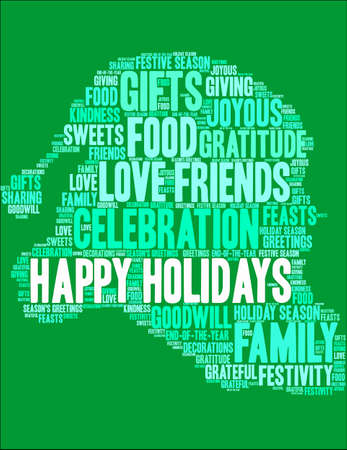 Happy Holidays word cloud on a green background as santa claus