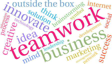 Teamwork word cloud on a white background.  Çizim