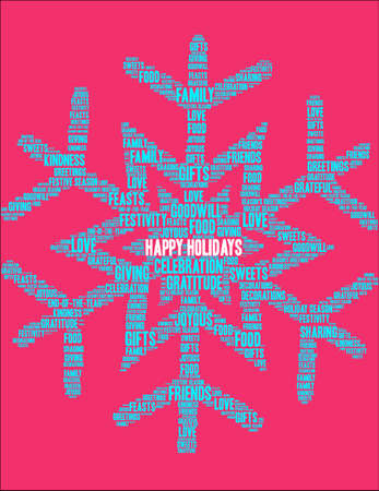 Happy Holidays word cloud on a red snowflake background.
