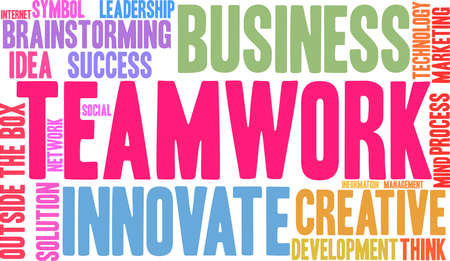 Teamwork word cloud on a white background.  Vectores