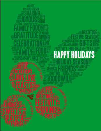 Happy Holidays word cloud on a green cherry background. Illustration
