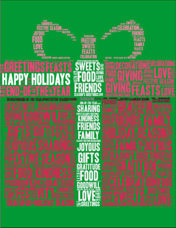 Happy Holidays word cloud on a green gift background.