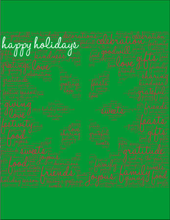 Happy Holidays word cloud on a green snowflake background.
