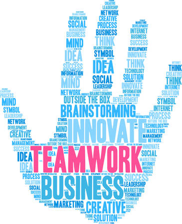 Teamwork word cloud on a white hand background. Illustration