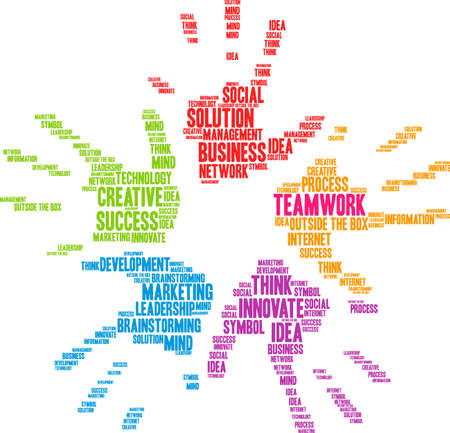 Teamwork word cloud on a white hands background.