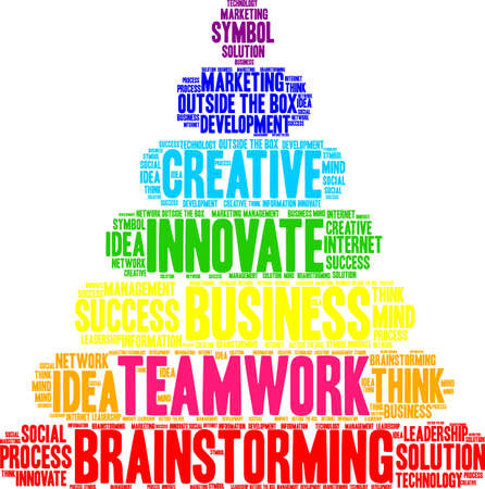 Teamwork word cloud on a white background as christm as tree. Illustration