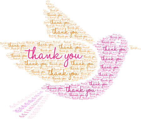 Thank You word cloud on a white background as dove. Illustration