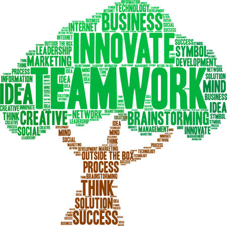 Teamwork word cloud on a white background as tree. Vectores