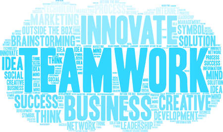 Teamwork word cloud on a white background.  Illustration