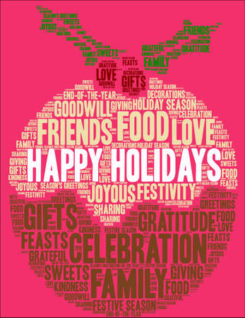 Happy Holidays word cloud on a pink christmas balls background.
