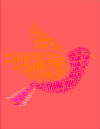 Thank You word cloud on a red dove background.