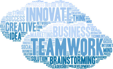 Teamwork word cloud on a white cloud background.