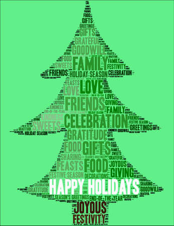 Happy Holidays word cloud on a green tree background.