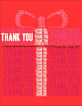 Thank You word cloud on a red gift  background.