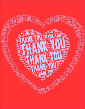 Thank You word cloud on a red heart background.