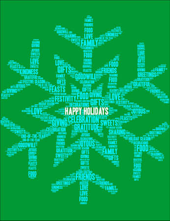 Happy Holidays word cloud on a green smowflake  background.