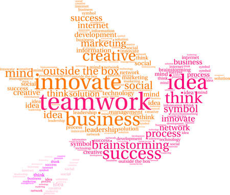 Teamwork word cloud on a white dove background.