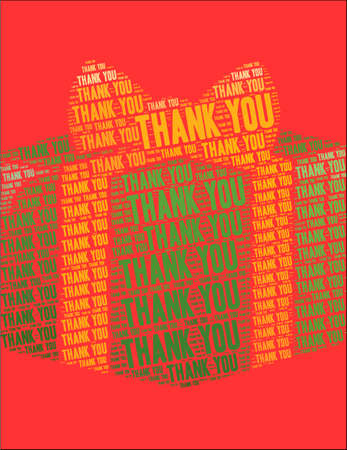 Thank You word cloud on a red gift background. Illustration