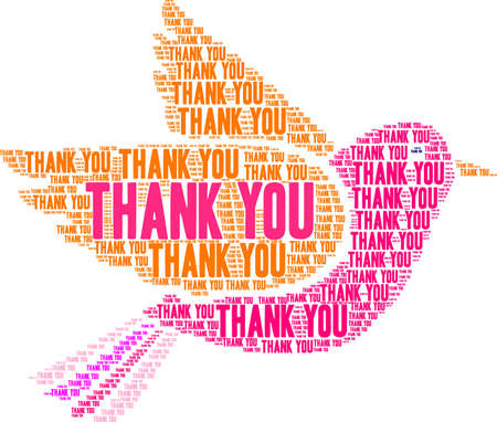 Thank You word cloud on a white dove background.