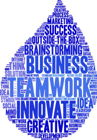Teamwork word cloud on a white background.  Vettoriali
