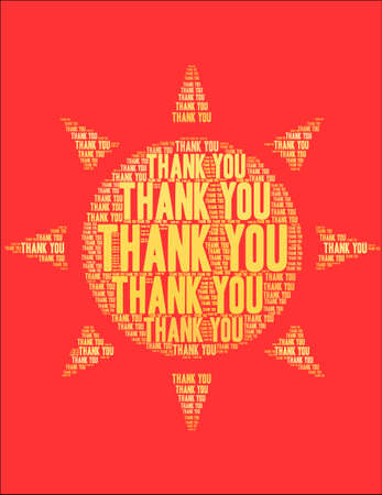 Thank You word cloud on a red sun background.