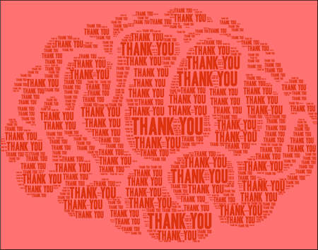 Thank You word cloud on a red background.