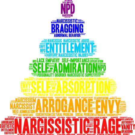 Nube di parola di collera narcisistica su sfondo bianco. Archivio Fotografico - 91512139