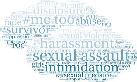 白の背景に性的暴行の単語の雲。