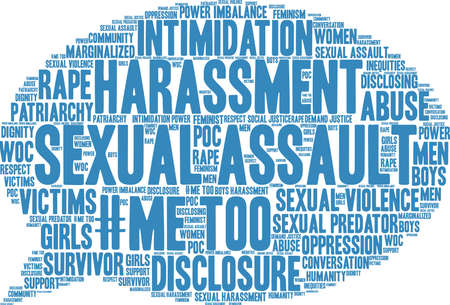 Sexual Assault word cloud on a white background.  Çizim