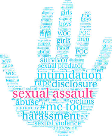 Sexual Assault word cloud on a white background.  矢量图像