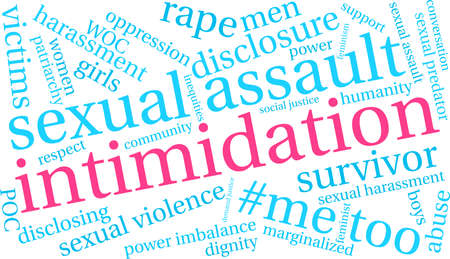 Intimidation word cloud on a white background.  Illustration