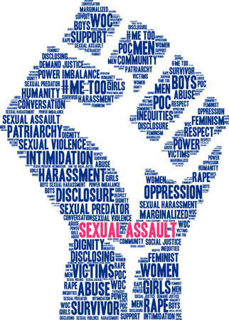 Nube de palabra de asalto sexual sobre un fondo blanco.