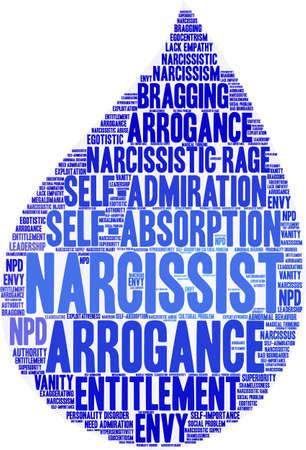 Nube di parola del narcisista su un fondo bianco. Archivio Fotografico - 91309804