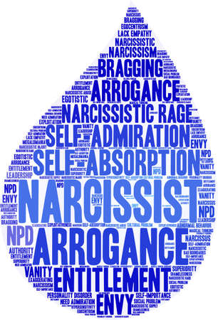 Narcissist word cloud on a white background.  Illustration